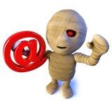 caráter egípcio da mamã de Dia das Bruxas dos desenhos animados 3d engraçados que guarda um símbolo do endereço email ilustração do vetor