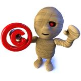 caráter egípcio do monstro da mamã dos desenhos animados 3d engraçados que guarda um símbolo dos direitos reservados ilustração stock