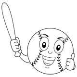 Caráter engraçado colorindo do basebol com bastão ilustração stock