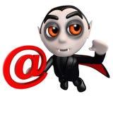 caráter engraçado de dracula do vampiro dos desenhos animados 3d que guarda um símbolo do endereço email ilustração stock