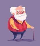 Caráter engraçado do ancião Vetor Imagens de Stock
