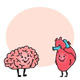 Caráter engraçado do cérebro e do coração, espaço para o texto ilustração stock