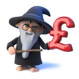 caráter engraçado do mágico do feiticeiro dos desenhos animados 3d que acena sua varinha no símbolo BRITÂNICO da libra Imagem de Stock Royalty Free