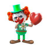 caráter engraçado do palhaço dos desenhos animados 3d que guarda um coração vermelho Imagem de Stock