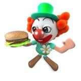 caráter engraçado do palhaço dos desenhos animados 3d que guarda um hamburguer do queijo Fotos de Stock