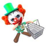 caráter engraçado do palhaço dos desenhos animados 3d que leva um cesto de compras Fotografia de Stock