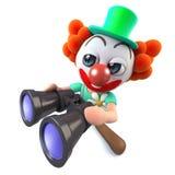 caráter engraçado do palhaço dos desenhos animados 3d que usa um par de binóculos Imagens de Stock