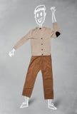 Caráter engraçado tirado mão na roupa ocasional Imagem de Stock Royalty Free