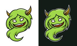 Caráter fêmea do monstro da pesca à corrica dos desenhos animados com chifres ilustração stock