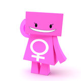 Caráter fêmea do sinal 3D Foto de Stock Royalty Free