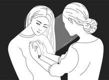 Caráter fêmea que olha dentro de uma outra mulher Conceito da psicoterapia, psicanálise, trabalho psychotherapeutic ilustração stock