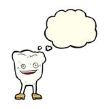 caráter feliz do dente dos desenhos animados com bolha do pensamento Fotografia de Stock Royalty Free