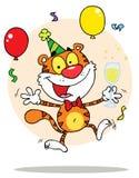 Caráter feliz do tigre do partido com borbulhante Fotografia de Stock