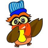 Caráter hand-drawn da coruja dos desenhos animados no terno do inverno Imagens de Stock