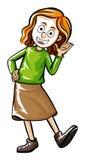 Caráter humano da garatuja para a menina feliz ilustração royalty free