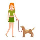 Caráter humano da menina bonito que guarda a ilustração fortemente de afago do vetor do cão da criança e do animal de estimação f Foto de Stock Royalty Free