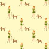 Caráter humano da menina bonito que guarda a ilustração sem emenda fortemente de afago do vetor do teste padrão do cão da criança Imagens de Stock Royalty Free