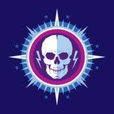 Caráter humano do crânio abstrato com relâmpagos na estrela com raios - ilustração criativa do vetor do crachá Sinal do vetor do  Fotos de Stock Royalty Free
