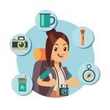 Caráter liso do turista com acessórios do turismo Ícones infographic do curso ilustração do vetor