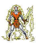 Caráter Llongorion da banda desenhada com uma espada flamejante Fotografia de Stock Royalty Free