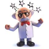 Caráter louco do cientista dos desenhos animados 3d chocados com as estrelas em volta de sua cabeça