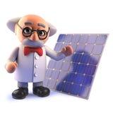 caráter louco do cientista do professor dos desenhos animados 3d com um painel da energia da célula solar