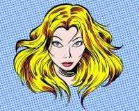 Caráter louro da ilustração dos desenhos animados olhar fixamente da menina Foto de Stock