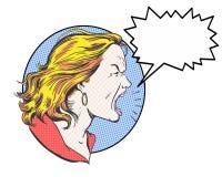 Caráter louro irritado da banda desenhada da mulher que grita com subtítulo Imagem de Stock Royalty Free