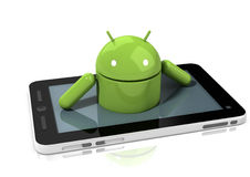 Caráter lustroso do Android que escala fora de uma tabuleta Imagens de Stock Royalty Free
