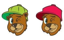 Caráter marrom fresco do urso do hip-hop dos desenhos animados com tampão Foto de Stock Royalty Free