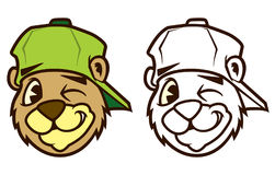 Caráter marrom fresco do urso do hip-hop dos desenhos animados com tampão Foto de Stock