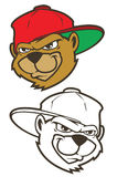 Caráter marrom fresco do urso do hip-hop dos desenhos animados com tampão Fotografia de Stock