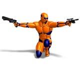 Caráter masculino da ficção científica no terno futurista Imagem de Stock Royalty Free