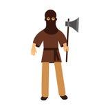 Caráter medieval do executor que está com ilustração colorida do machado ilustração royalty free