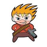 Caráter militar do menino do chibi ilustração do vetor