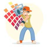 Caráter moderno do verão do jogador de registro da música de Straat do totó do moderno dos desenhos animados Fotografia de Stock