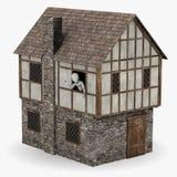 Caráter na mão de ondulação do edifício medieval Fotos de Stock Royalty Free