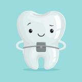 Caráter ortodôntico saudável bonito do dente dos desenhos animados, ilustração do vetor do conceito da odontologia de crianças ilustração stock
