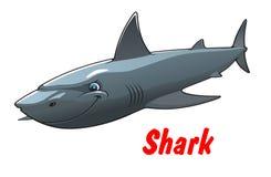 Caráter perigoso do tubarão dos desenhos animados Imagens de Stock Royalty Free