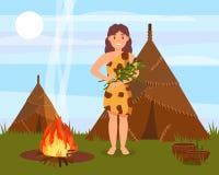 Caráter pré-histórico dos cavewoman que está ao lado da casa feita das peles animais, vetor natural da paisagem da Idade da Pedra ilustração do vetor