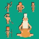 Caráter primitivo dos povos do neanderthal dos desenhos animados da Idade da Pedra do homem das cavernas ilustração royalty free