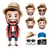 caráter realístico do homem do turista 3D que veste o vestido ocasional com câmera Foto de Stock
