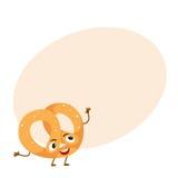 Caráter recentemente cozido engraçado do pretzel ilustração royalty free