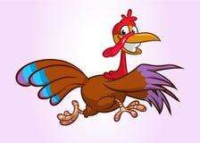 Caráter running gritando do pássaro do peru dos desenhos animados Ilustração do vetor fotos de stock royalty free