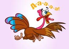 Caráter running gritando do pássaro do peru dos desenhos animados Ilustração do vetor foto de stock royalty free