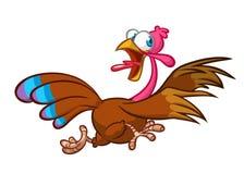Caráter running gritando do pássaro do peru dos desenhos animados Ilustração do vetor imagem de stock royalty free