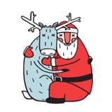 Caráter Santa Claus Hug com cervos ilustração do vetor