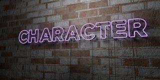 CARÁTER - Sinal de néon de incandescência na parede da alvenaria - 3D rendeu a ilustração conservada em estoque livre dos direito Imagem de Stock