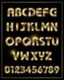 Caráter tipo da fonte do alfabeto do ouro com números Fotos de Stock Royalty Free
