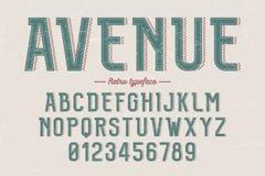 Caráter tipo retro do vintage decorativo do vetor, fonte, letras do alfabeto Imagens de Stock